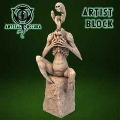 ShopImage_ArtistBlock_Front.jpg Télécharger fichier STL Artist Block - Figurine de la créature fantôme démoniaque • Modèle pour imprimante 3D, AbyssalObscura