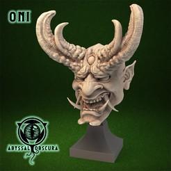 ShopImage_Oni_Front.jpg Télécharger fichier STL Buste de la tête du démon Oni • Objet pour impression 3D, AbyssalObscura