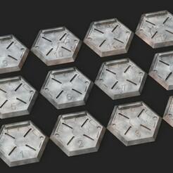 desertterrain.1211.jpg Télécharger fichier STL Bases hexagonales - Hangars (12) • Modèle imprimable en 3D, Biophominiatures