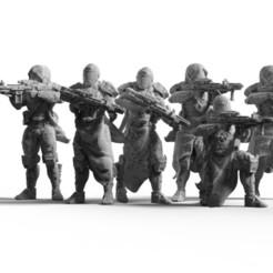 Light Infantry 1.jpg Download STL file Light Infantry Squad (.STL & .OBJ) • 3D print template, Biophominiatures