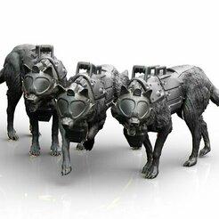 dogs4.jpg Télécharger fichier STL Chiens - combat • Objet pour imprimante 3D, Baphominiatures