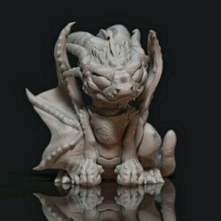 Grumpy dragon1.jpg Download STL file Dragon- Grumpy Baby • 3D printable object, Baphominiatures