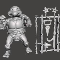 01_MIKI.png Download STL file MICHELANGELO VINTAGE TMNT ( TEENAGE MUTANT NINJA TURTLES ) COMPLETE • 3D print model, MisJuguetes
