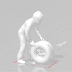 snapshot100.png Download STL file F1 Technician or Mechanic or Driver carrying a wheel • Model to 3D print, moviemasterdvd