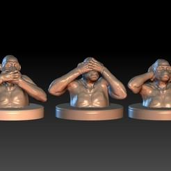 6.jpg Télécharger fichier OBJ Trois Singes Sages. Ensemble • Design imprimable en 3D, Willo