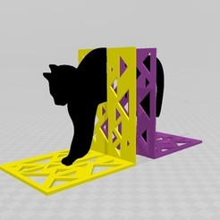 gatoo1.jpg Download STL file Soporte para Libros AWEKENING-CAT • Design to 3D print, Mercury-Dragon
