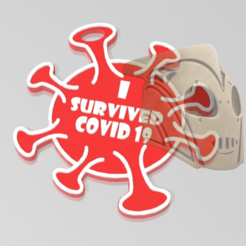 g831.png Download STL file Key ring I survived the Covid 19 • 3D print template, The_Rocketeer