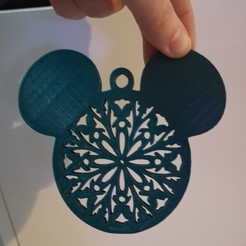 Mickey snowflake.jpg Télécharger fichier STL gratuit Cintre pour arbre de Noël Mickey V3 • Modèle imprimable en 3D, NAT3463