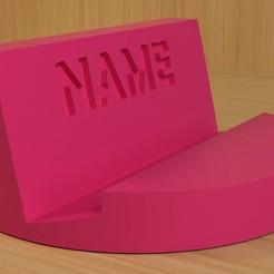 name_1.jpg Télécharger fichier STL Un simple support de téléphone avec votre nom • Objet imprimable en 3D, brockarguz