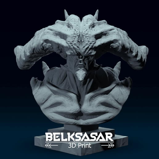 02.png Télécharger fichier OBJ Modèle d'impression 3D du buste du démon • Design imprimable en 3D, belksasar3dprint