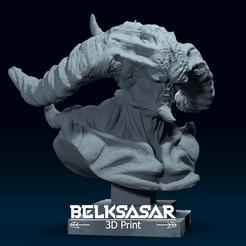 01.png Download OBJ file Bust of Demon 3D print model • 3D printer template, belksasar3dprint