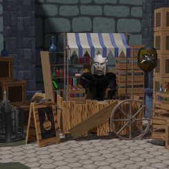 Stand Gerald 09.jpg Télécharger fichier STL Medieval Stand Market 3D model • Objet pour imprimante 3D, 3dInLabStudio