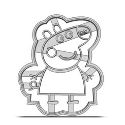 19-0370.png Télécharger fichier STL Coupeuse à biscuits Peppa Pig • Plan pour impression 3D, CookieCutterBoss