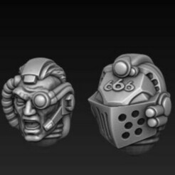 more heads 2.jpg Télécharger fichier STL gratuit Conversion des têtes de chevaliers gris • Modèle à imprimer en 3D, DMGMinis