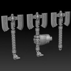 Dread Axes 1.jpg Télécharger fichier STL Des chiots dans l'espace Hache mécanique à moteur. • Design pour imprimante 3D, DMGMinis
