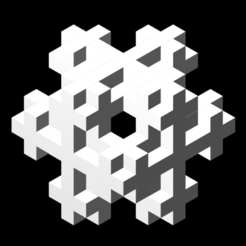 2_lvl_cubic_based_3D_Koch_snowflake_white_cmap_camlight_left.png Download free STL file Koch snowflake 3D iteration 2 • 3D printer template, Nicosahedron