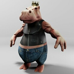 Preview1.jpg Download STL file King Hippo • 3D printing object, DudeX
