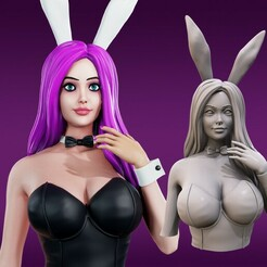 Bunny_Girl_Render1.jpg Download free STL file Bunny Girl Bust • 3D print model, Mystic_Flare