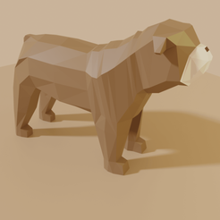 BullDogAll.png Download free STL file Dog LowPoly (BullDog) • Template to 3D print, Krashadar3D
