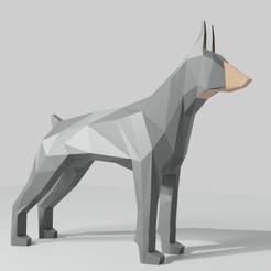 DobermanAll.png Download free STL file Dog LowPoly (Doberman) • 3D printer model, Krashadar3D
