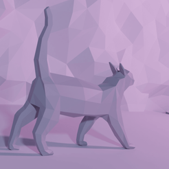 2CatBehind.png Download free STL file Cat LowPoly • 3D printable object, Krashadar3D