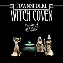 720X720-witchcoven-render.jpg Download STL file Townsfolke: Witch Coven • 3D printable design, illgottengames
