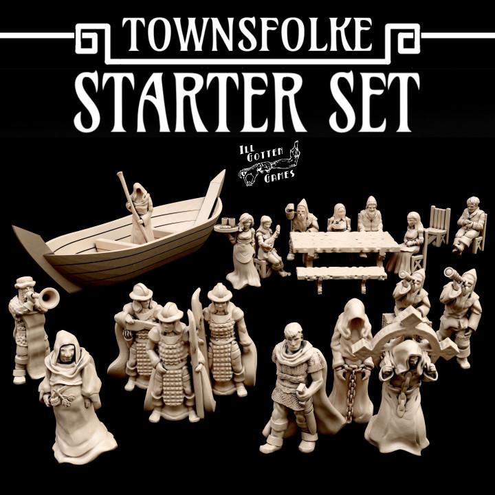 720X720-starterset-render.jpg Download free STL file Townsefolk: Starter Set • 3D printer template, illgottengames