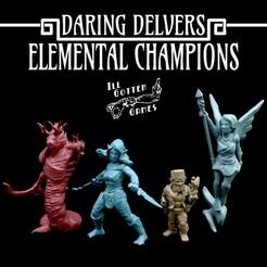 720X720-elementalchampions-render.jpg Télécharger fichier STL Daring Delvers : Champions de l'élément • Plan imprimable en 3D, illgottengames
