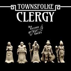 720X720-clergy-render.jpg Télécharger fichier STL Townsfolke : Clergé • Objet à imprimer en 3D, illgottengames
