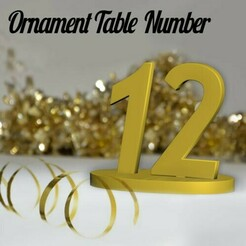 TableName00.jpg Download STL file Ornament Table Number • 3D print design, merry3d