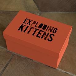 Square Exploding Kittens Lid.PNG Télécharger fichier STL gratuit Boîte de rangement pour chatons explosant • Plan pour imprimante 3D, KAP42