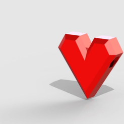 lowpolyheartbead1.png Download free STL file Low-poly Heart bead • 3D printable model, PaulvanDoorenmalen