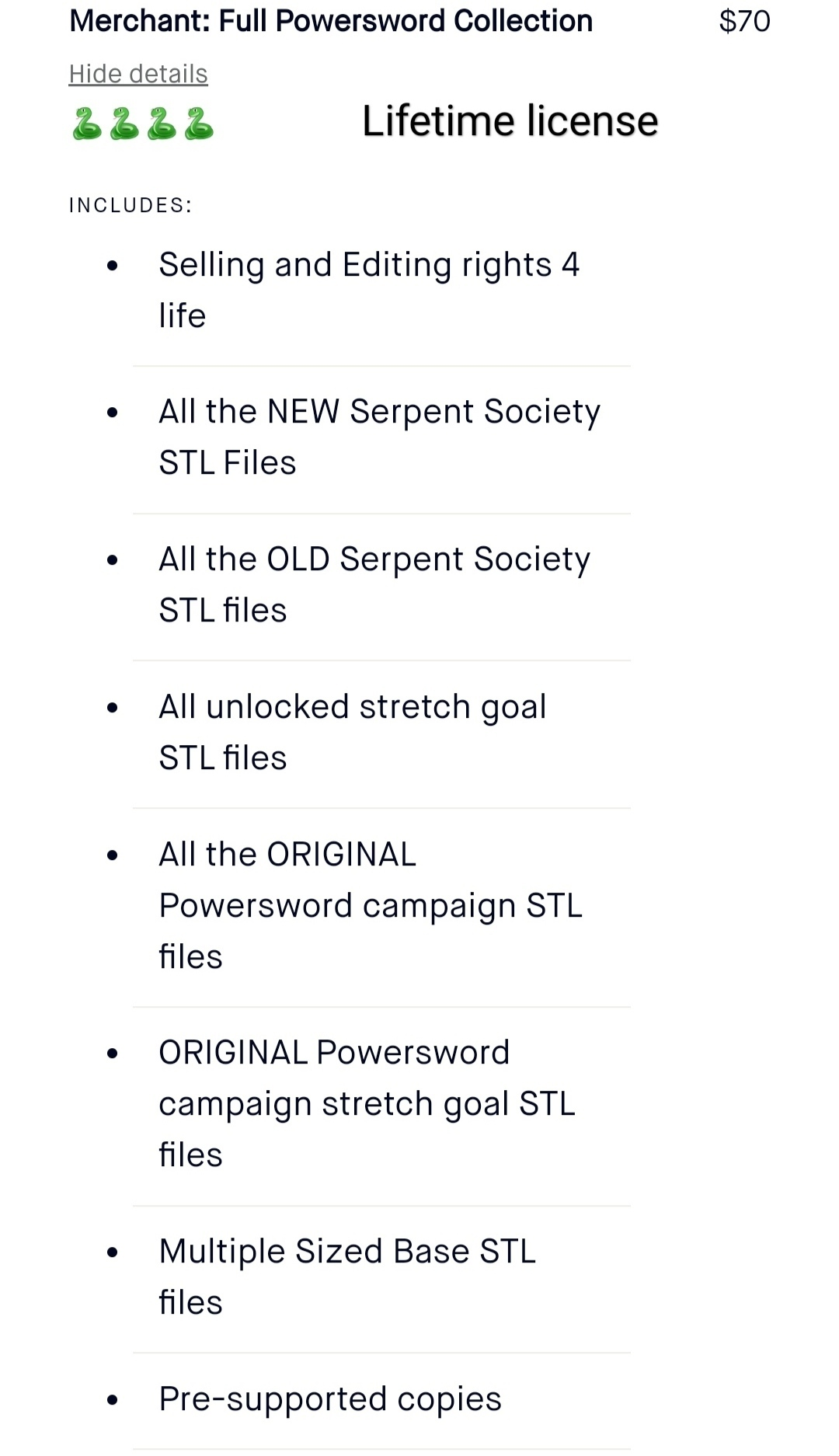 Merchant License for upload.jpg Download STL file Serpent Big Boss with Commercial Option. • 3D printer model, TFG