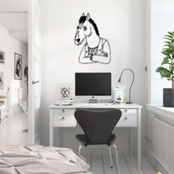 oficina-minimalista-2 BOJACK.png Télécharger fichier STL gratuit Bojack Hourseman Wall Sculpture 2D Desing SAD FACE 1 • Plan à imprimer en 3D, jsalvarez