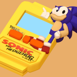 SanicWatch2.png Download free STL file Tiger Electronics Sonic Wristwatch • 3D print template, MintyFries