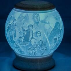 Star Wars-01.jpg Télécharger fichier STL Globe Lithophane de l'univers Star Wars • Design pour impression 3D, brianhole