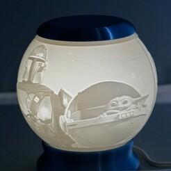 Mandalorian-01.jpg Télécharger fichier STL Globe de nuit mandalorien Lithophane • Plan pour impression 3D, brianhole