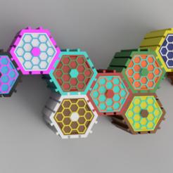conjunto.PNG Télécharger fichier STL boîtes hexagonales à empiler • Objet imprimable en 3D, 3dMestres