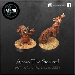Acorn Double.jpg Download STL file Acorn the Killer Squirrel - Fantasy Football Star Player (Pose 1+2)  • Design to 3D print, AnnwnStudios