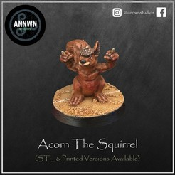 Acorn Pose 1 Product Image.jpg Download STL file Acorn the Killer Squirrel -  Fantasy Football Star Player (Pose 1) • 3D printer object, AnnwnStudios