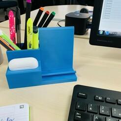IMG_3372.jpg Télécharger fichier STL Support pour téléphone, airpods pro, stylo • Plan à imprimer en 3D, oscar_bontron
