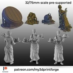 PATREON-maid.jpg Télécharger fichier STL Femme barmaid humaine • Modèle pour imprimante 3D, My3DprintFORGE