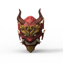 untitled.23.png Download STL file Samurai Mask • 3D print template, maballesteros