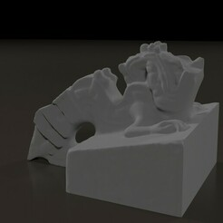 FrontRight.jpg Download STL file Aztec Xiugcoatl Fire Serpent Statue • 3D printing template, tubbybtch