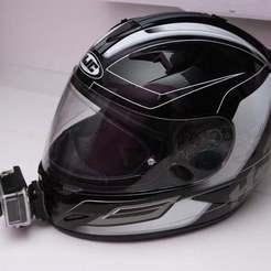 with_cam.JPG Download free STL file HJC helmet action camera holder • 3D printable template, parek