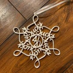 125529733_489140232051389_5917446066767379387_n.jpg Download STL file 2020 Sucks Snowflake Ornament 2 designs • 3D print template, ktprocraftinates