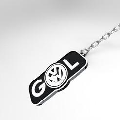 llavero.157.jpg Download STL file VW Gol Gyroid Keychain • 3D printable template, JoakoZarza