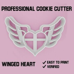 1.jpg Download STL file Winged heart cookie cutter • 3D printer template, Cookiecutters