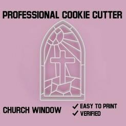 church window cookie cutter.jpg Télécharger fichier STL Vitrine de l'église Coupe-biscuits • Objet pour impression 3D, Cookiecutters