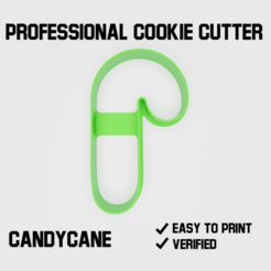 Candycane cookie cutter2.png Download STL file Candycane Cookie cutter • 3D printer template, Cookiecutters